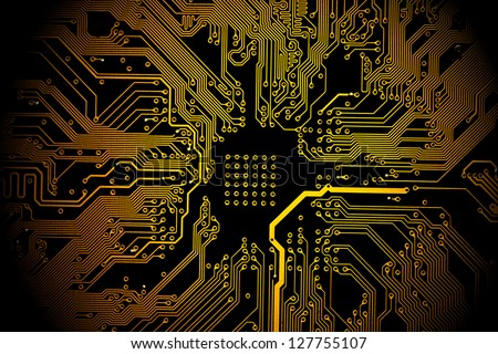 High technology background - yellow printed circuit board.