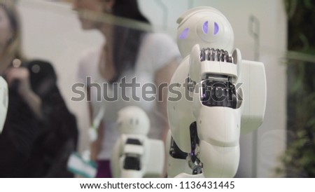 High Technology Future and Science Concept. Smart Humanoid Robots Dancing. Dancing robots. Future technology concept