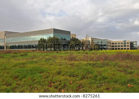 High technology office park on an overcast day, Milpitas, California