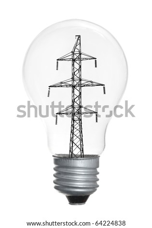 High-tension power line in light bulb isolated on white background