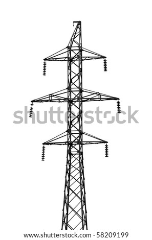High-tension power line isolated on white background