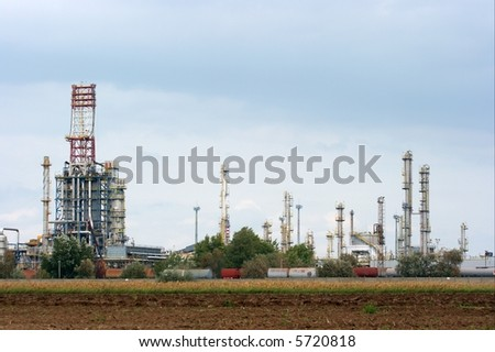 High towers at an oil refinery