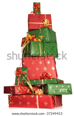 High up tower of red and green christmas presents