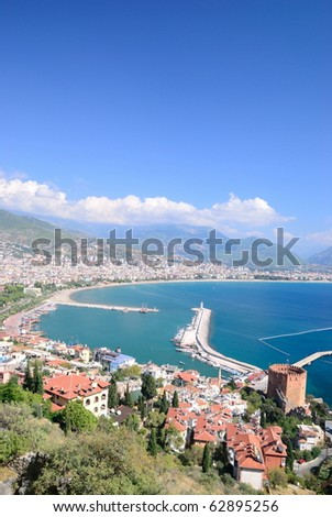 High view of Alanya bay. Turkey