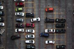 high view of car park, aerial