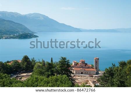 high view of Sveti Kliment Church on majestic Ohrid lake, Republic of Macedonia