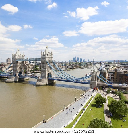 High viewpoint of Tower Bridge, the River Thames and East London, England.