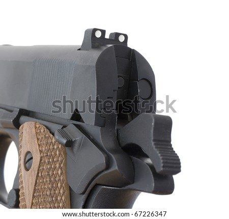 high visibility rear sights on a semi auto handgun - stock photo
