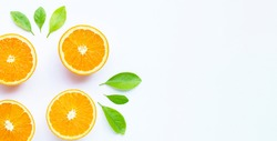 High vitamin C, Juicy and sweet. Fresh orange fruit on white background.