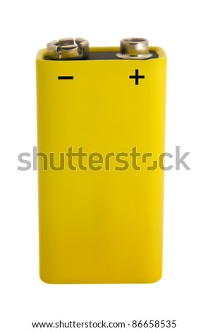 High voltage battery isolated on white. Clipping path included.