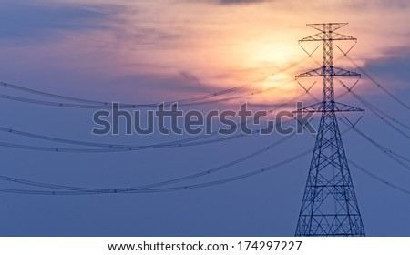 high voltage electric cable tower and sunset, High Voltage Tower at sunset
