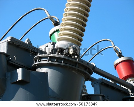 High voltage electric converter detail at a power plant