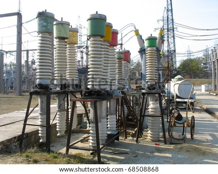 High voltage electric isolators detail at a power plant