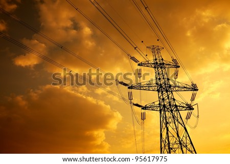 High voltage electric line in the sunset