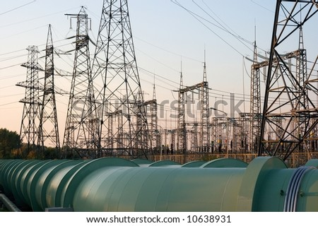 High voltage electric lines connected to an electric station