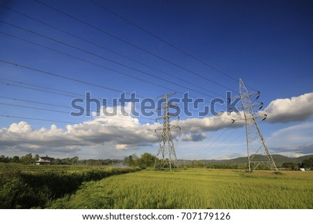 High voltage electric poles set in the rice field. #707179126