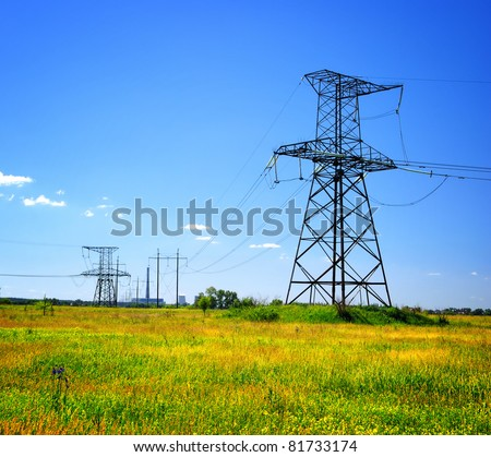 high voltage electrical power line in the field