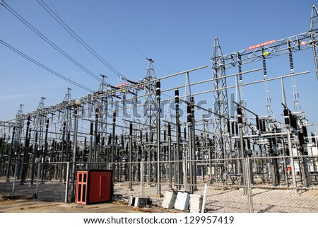 High Voltage Electrical Substation - Shutterstock ID 129957419
