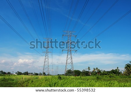 high voltage electrical transmission line tower 500kV