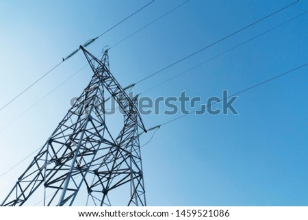 High voltage electricity line. Electricity pole.