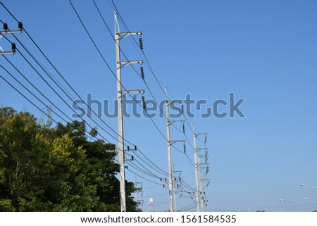 High-voltage electricity lines from the electricity distribution stations to the rural areas of Thailand #1561584535