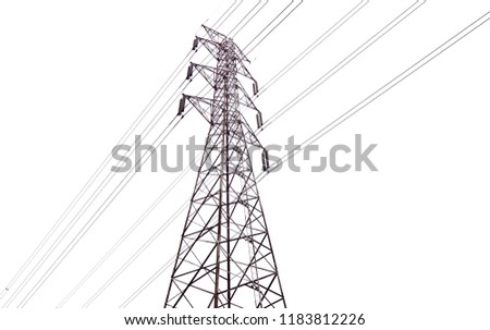 Electrical Tower Of High Voltage Between Light Fog Black And White