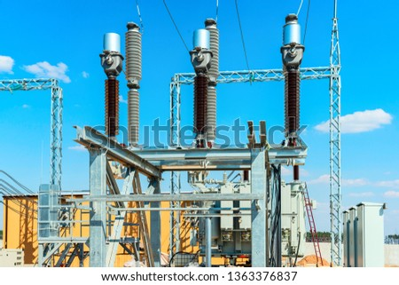 High-voltage equipment - vacuum switches and insulators on metal supports on metal supports #1363376837
