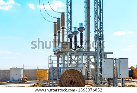 High-voltage equipment - vacuum switches and insulators on metal supports on metal supports #1363376852