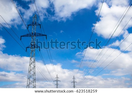 High-voltage lines and sky #623518259