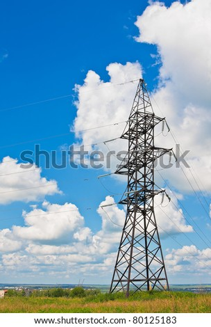 High voltage lines beneath a blue cloudy sky