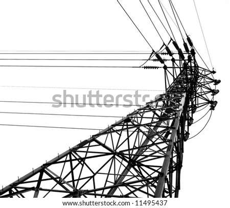 High Voltage Mast -- monochrome image of a high voltage pylon
