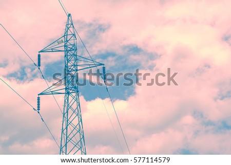 high voltage pole. retro...