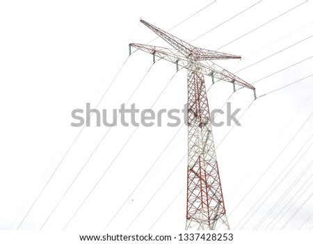 high voltage post,electric pole,Power poles,High voltage power pole with wires tangle. #1337428253