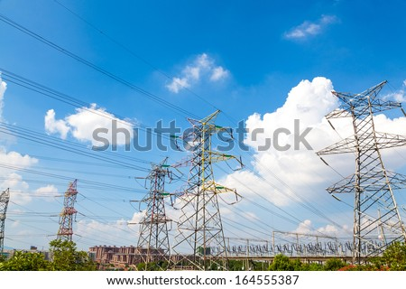 high voltage post.High-voltage tower sky background. #164555387
