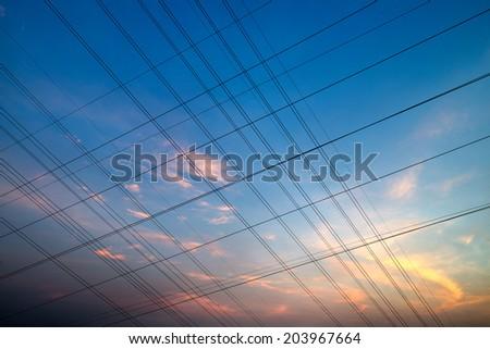 high voltage post.High-voltage tower sky background #203967664