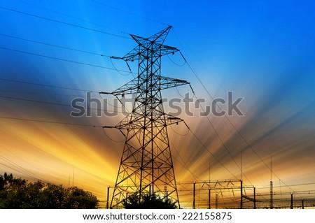 high voltage post.High-voltage tower sky background. #222155875