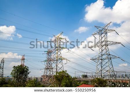 high voltage post.High-voltage tower sky background. #550250956
