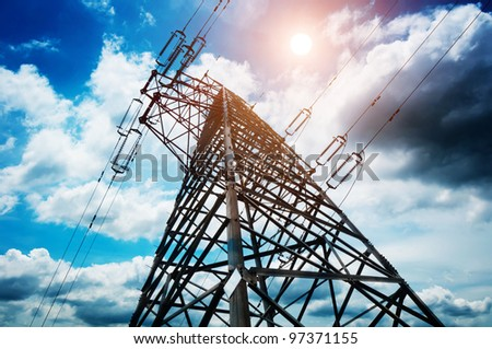 high voltage post.High-voltage tower sky background.