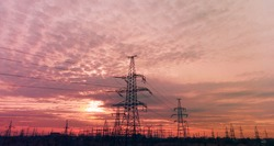 High voltage post.High-voltage tower sky background. High-voltage power lines. Electricity distribution station. high voltage electric transmission tower. Distribution electric substation with power