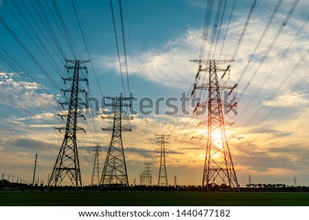 High voltage post,High voltage tower sky sunset background #1440477182