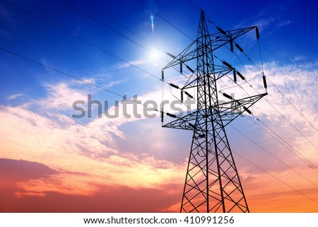 High voltage post or High voltage tower #410991256