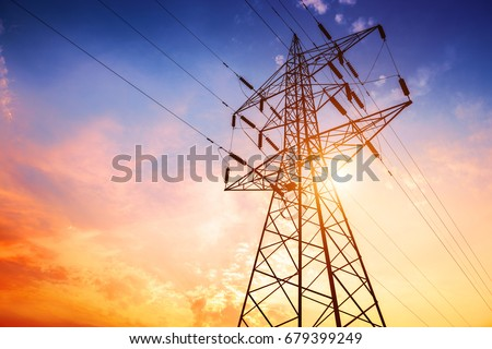 High voltage post or High voltage tower Photo stock ©