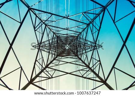 High voltage post Power line High voltage tower Industry background  #1007637247
