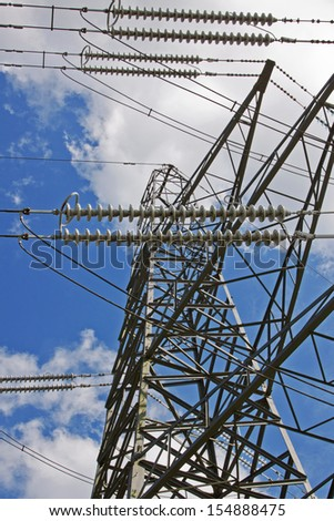 High voltage power cables supported by a pylon in the English countryside