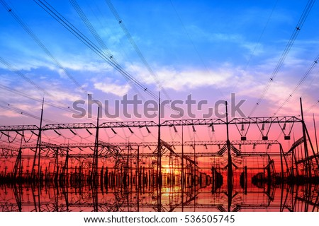 High voltage power grid, in the sunset  #536505745