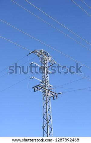 High voltage power line in the province of Alicante, Costa Blanca, Spain #1287892468