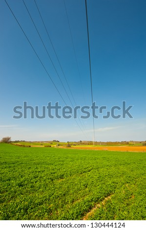 High-voltage Power Line Passes through the  Fields in Israel