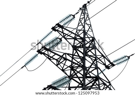 High voltage power lines and big pylon isolated on white