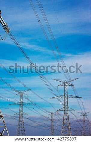 High voltage power lines at dusk