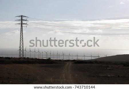 high-voltage power lines,electricity transmission pylon #743710144